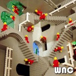 "M.C. Escher's ""Relativity"" as interpreted by  Legos."